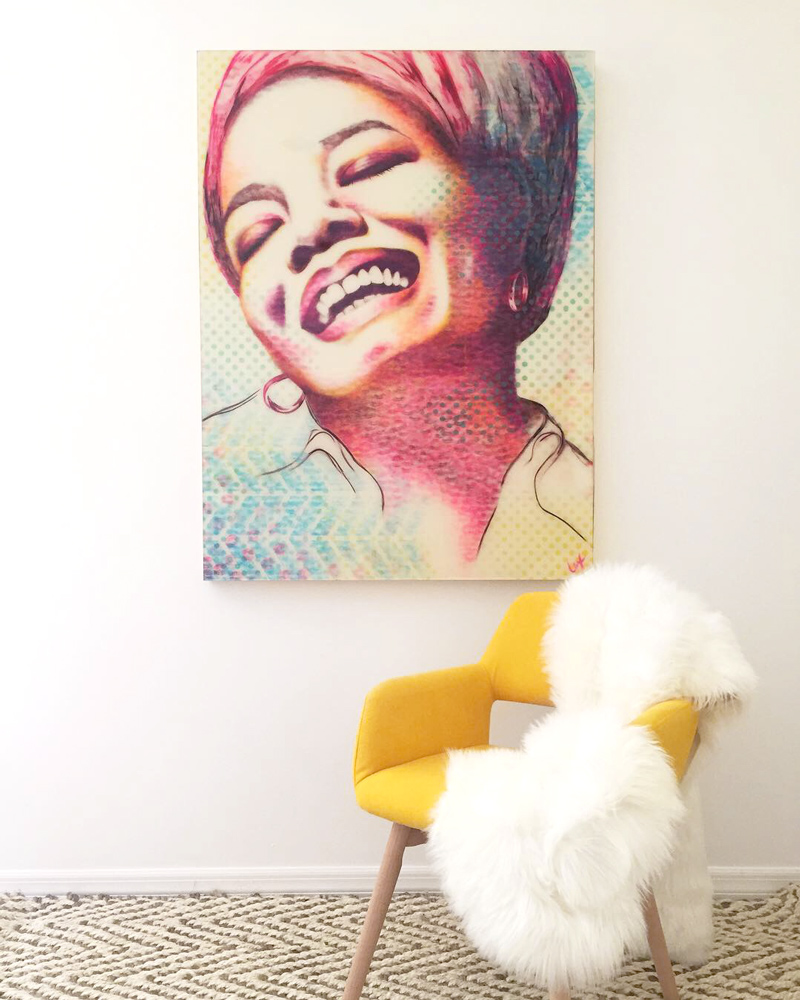 Lipstick Lex painting of Maya Angelou