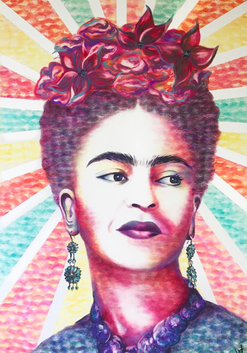 Frida Kahlo portrait by Lipstick Lex